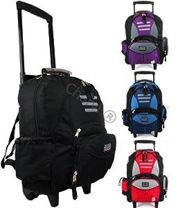 Mens Womens Hand Luggage Wheeled Backpack Rucksack Trolley Holdall Bag 1822 Blackbluepurplered 22 Blue