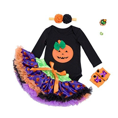 YeahiBaby Baby Mädchen Halloween Kürbis Strampler Tutu Kleid Kostüm Set mit Stirnband Beinwärmer Größe XL (Halloween-kostüme Tutu Baby)