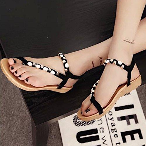 Minetom Femmes Rétro Été Style Sandales Mode Strass Perles Sandales Chaussures Noir