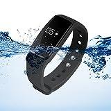 XCSOURCE frequenza cardiaca OLED intelligente Bracciale impermeabile sport Salute Activity Tracker fitness Bluetooth Wristband Contapassi sonno Monitor (nero) AC493