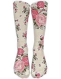 Flowered Womens Novelty Soft Cotton Tube Knee High Socks, Calf Socks