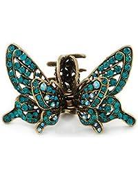 Inspiración Vintage en color azul Diseño de mariposa con cristales con funda para alas pelo pinza para en oro antiguo tono–85mm de ancho