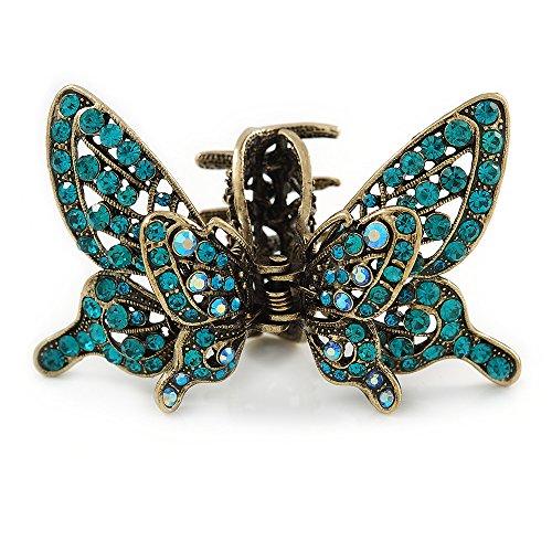 Avalaya – Haarspange im Vintage-Stil, Blaugrüne Kristalle, Schmetterling mit beweglichen Flügeln, Antik-Gold, 85 mm ()
