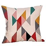 Xmiral Kissenbezüge Pillowcase Geometrisch Bedruckte Baumwollleinen Bettkissenbezug Zierkissenbezüge(F)