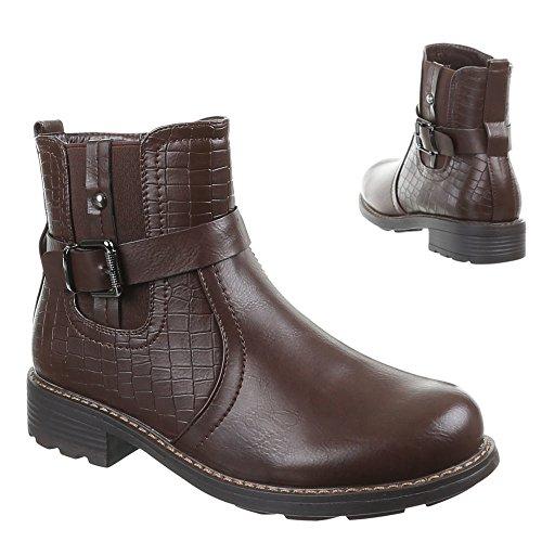 Damen Schuhe, 580-PA, STIEFELETTEN Braun