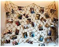 kereith Vintage yute Foto colgar pantalla con 30 clips de madera - yute red de pesca Wall Decor - Marcos & Prints organizador de fotos & collage obras - Nautica Decoracion Dormitorio dormitorio decoracion de Navidad (marcos de cartón para fot...