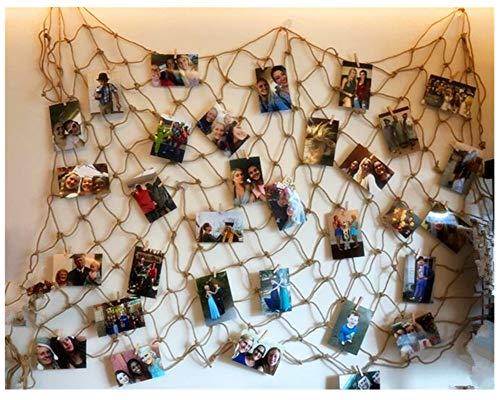 (jahrgang jute foto hängen display mit 30 hölzernen clips - jute fischernetz wand dekor - bilderrahmen und druckt foto - organisator und collage - dekorativen kunstwerke - wohnheim - zimmer weihnachtsschmuck)