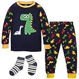 ZOEREA Baby Jungen Schlafanzüge Kleinkind Schlafanzugoberteile Baumwolle Buddy Dino Dinosaurier Muster mit Socken Körpergröße 90-95cm 3Y
