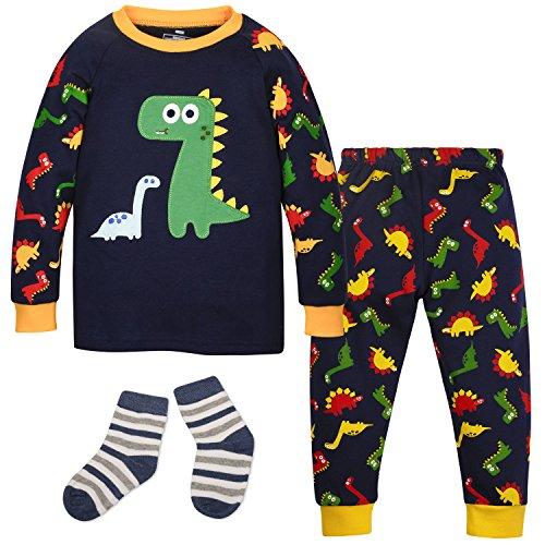 ZOEREA Baby Jungen Schlafanzüge Kleinkind Schlafanzugoberteile Baumwolle Buddy Dino Dinosaurier Muster mit Socken Körpergröße 85-90cm 2Y