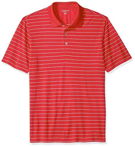Amazon Essentials Regular-Fit Quick-Dry Stripe Golf Polo Shirt Poloshirt Herren, red, US L (EU L) - Red Golf-polo-shirt