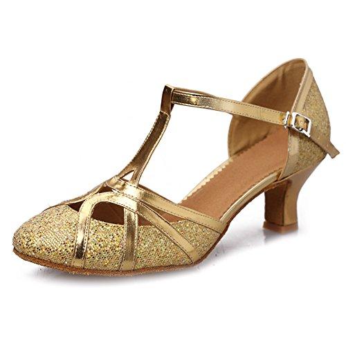 HROYL Women Dance Shoes C5-W11 Gold Leather Latin/Chacha/Samba/Modern/Jazz Dance Shoes 7 UK