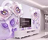 Carta Da Parati 3D Motivo Floreale Con Fiore In Oro Intarsiato Viola Intagliato In Rilievo 3D Foto Murale Moderna Fotomurali Decorazioni