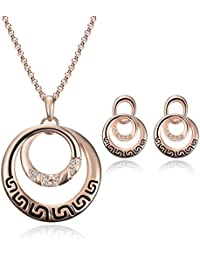 Glamcove's Beautiful Pink Alloy Metal Necklace Set For Women