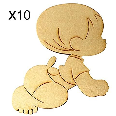 10pcs Wooden Laser Cut MDF Baby Shapes Craft Blank Plaque Signs Card Making 3mm Thick, Ideal For Scrapbooking, Gift tags, Christmas, Weddings Or Hanging Art