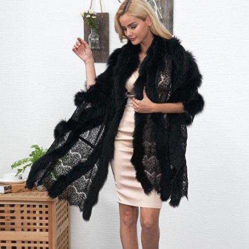 Amlaiworld Nuova donna pizzo caldo faux pelliccia cappotto scialle Inverno Parka wrap Nero