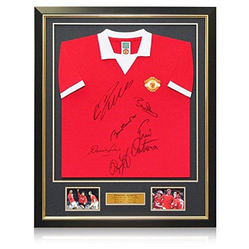 Exclusive Memorabilia Manchester United, signiert von Cristiano Ronaldo, Bobby Charlton, Eric Cantona, Denis Law, Bryan Robson und Ryan Giggs. In Deluxe Rahmen mit goldfarbener Einlage, Schwarz