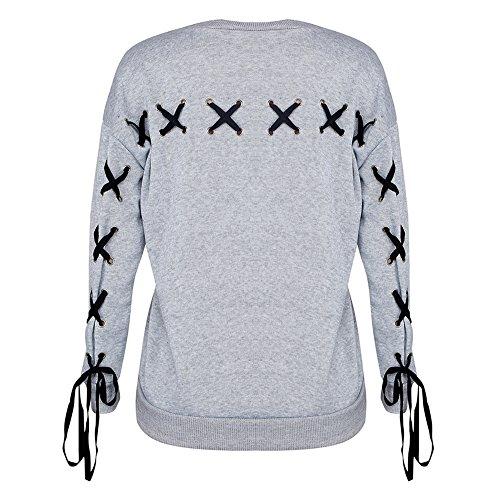 Femmes Sweat-shirt Chemise à lacets - Juleya manches longues en vrac pull ras du cou chemisier chaud pull-over vêtements Bowknot Tops chemisier gris S M L XL Gris