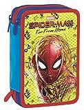Astuccio 3 Zip Marvel Spider-Man, Rosso, Con materiale scolastico: 18 pennarelli e 18 pastelli Giotto, penna Tratto Cancellik ...
