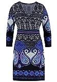Anna Field Strickkleid mit Paisley Muster schwarz mit Blau – Minikleid mit Cache Coeur Ausschnitt, 40