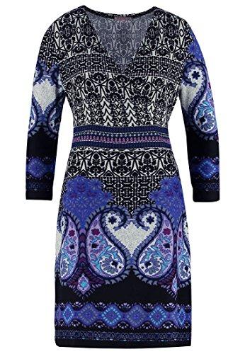 Anna Field Strickkleid mit Paisley Muster schwarz mit Blau – Minikleid mit Cache Coeur Ausschnitt, 36