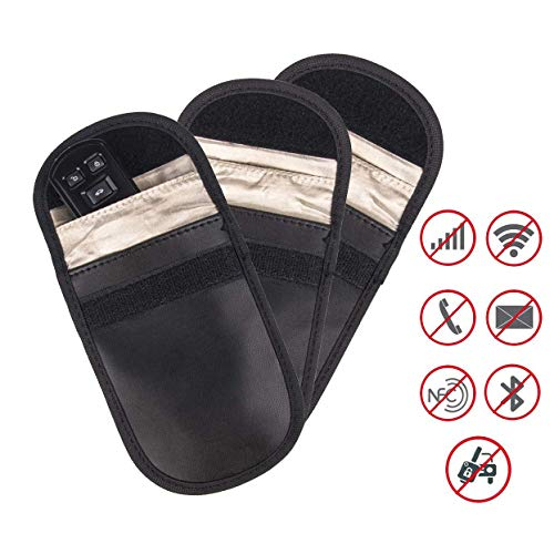 Mengshen Signalblockierungsbeutel Für Auto schlüSselanhänger - Faraday Tasche RFID NFC WiFi GSM Signalblocker, Auto-Diebstahlschutz Für SchlüSsellosen Zugang - (3Er Pack) - Wifi-jammer