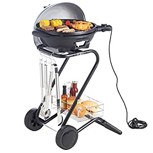 VonShef Electric Silver Indoor Grill Indoor and Outdoor BBQ Barbecue Grill with 5 Temperature Settings & Built In Thermometer Gauge