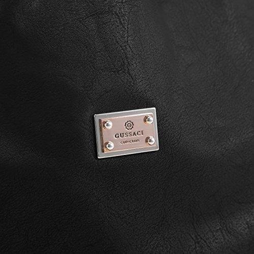 Gussaci Beuteltasche aus edlem Kunstleder mit Glasperlen Applikationen mittelbeige