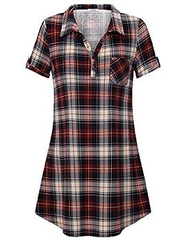 Youtalia T-shirt Dress Women, Juniors Checkered Mini Dress Classical V Neck Comfy Loose Fitting Blouse & Tops,red Black Xxl 2