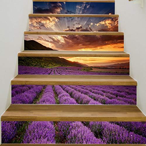 LIZHONGXUAN Treppe Aufkleber 3D Lila Lavendel Ozean DIY Renoviert Treppe Aufkleber Selbstklebende Wandaufkleber Wasserdicht 100 * 18 cm * 6 Stücke (Ozean-szenen Wandtattoos)