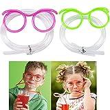 Gosear 2Stk Lustig Verrückt Halme DIY Trink Stroh Brillen Brille Zufällige Farbe
