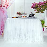 MYMM Table Skirt, Romantic Tulle desk gauze, Table Decoration, Snowflake Wonderland Tutu Table Cloth, for Baby Shower, Wedding, Birthday, Party, Bar, Prom, Valentine's Day Christmas