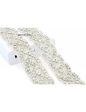 ShinyBeauty RA027 - Cinta con piedras de estrás, diseño para vestidos de novia, acero inoxidable, Blanco, width...