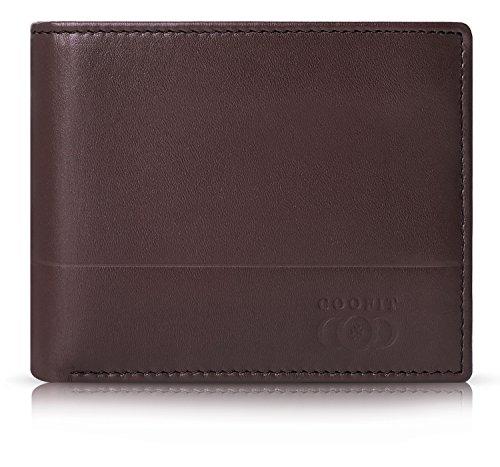 Herren Ledergeldbörse,Coofit RFID echtes Leder Geldbörse Geldbeutel für Damen und Herren Portemonnaie Light Brown