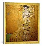 Gerahmtes Bild von Gustav Klimt Bildnis Adele Bloch-Bauer I, Kunstdruck im hochwertigen handgefertigten Bilder-Rahmen, 50x50 cm, Gold Raya