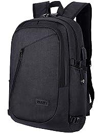 WAWJ Mochila antirrobo Impermeable, Mochila para portátil Multiusos Daypacks con Puerto de Carga USB (Negro)