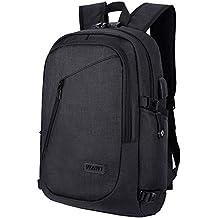 WAWJ Unisex Multiuso Antifurto Zaino con porta USB, Zaino Per PC Portatile Impermeabile da uomo borsa universitaria daypack Per La Scuola Scuola, Business (Nero).