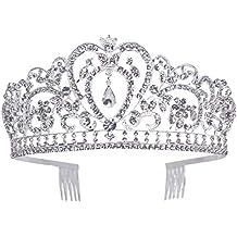 Makone Tiara Corona de Cristal con diamantes de imitación peine para corona nupcial Proms de boda