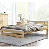 Wooden Pinewood Bed 4FT6 Double 120x190 cm Frame Flexible Rack Varnished Wood