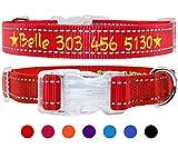 TagME Personalisierte Bestickte Reflektierend Hundehalsbänder/Benutzerdefinierte mit Name und Telefonnummer Bestickt / 4 Größe & Rot/Für kleine und mittlere und große Hunde