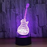 OOFAY LIGHT® 3D LED Nachtlicht Lampe Gitarre Illusion Nachttischlampen 7 Farbwechsel Smart Touch USB Tisch Schreibtischlampen Zimmer Schlafzimmer Dekorative Beleuchtung Geburtstag Feriengeschenke für Kinder