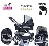 Chilly Kids Matrix II Kinderwagen Safety-Set (Autositz & ISOFIX Basis, Regenschutz, Moskitonetz, Schwenkräder) 24 Schwarz & Creme