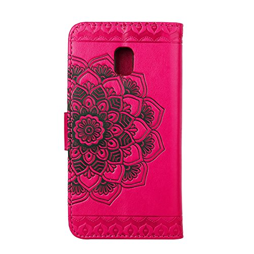 Custodia per Samsung J3 2017 (Versione europea), Galaxy J3 2017 (Versione europea) Cover a libro, iphone X Cover Flip, MoreChioce Lusso Bookstyle Flip PU Pelle Cover Moda Design Modello Gatti e alberi Mandala-Hot Pink