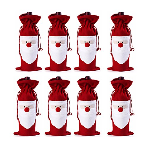 Keysui Set di regali di Natale pupazzo di neve Babbo Natale Bottiglia Di Vino Borse per feste in casa Red Snowman