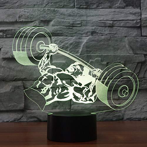 3D Led Sieben Farbdrucker Knopf Tischlampe Usb-Visuelle Stimmung Schlaf Gewichtheben Nachtlicht Bett Schlafzimmer Beleuchtung Dekoration Geschenke