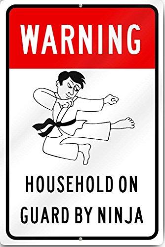 Haushalt auf Guard von Ninja Schild 30,5cm breit x 45,7cm hoch Dickem Aluminium Metall Metall Schild Reflektierende ()
