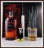 Geschenk Bulleit Bourbon Frontier Whiskey + 2 Original Edelstahl Kühlsteine, goldfarbend, im Smoking + Whisky Glas Nachtmann kostenloser Versand