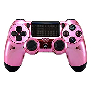 eXtremeRate PS4 Controller Schutzhülle Case Obere Hülle Cover Oberschale Skin Schale Gehäuse Shell für Playstation 4 PS4 Slim PS4 Pro Controller CUH-ZCT2 JDM-040 JDM-050 JDM-055(Chrome Pink)