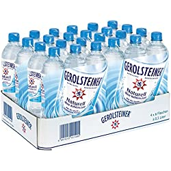 Gerolsteiner Naturell/Natürliches Mineralwasser ohne Kohlensäure/Geeignet für eine natriumarme Ernährung / 24 x 0,5 L PET Einweg Flaschen
