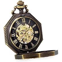 Alienwork Reloj de Bolsillo Mecánico Relojes Hombre Mujer Acero Inoxidable Bronce marrón Analógicos Cuerda Manual Unisex