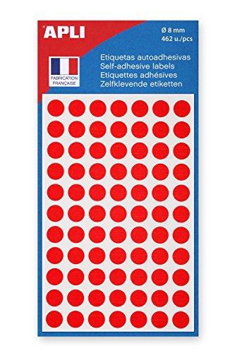 AGIPA Lot de 10 Sachets de 462 étiquettes Gommettes de signalisation Rondes 8 mm Rouge